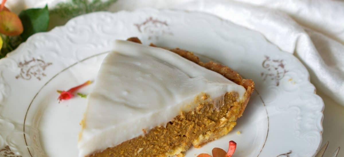 delicious haupia pumpkin pie on white plate