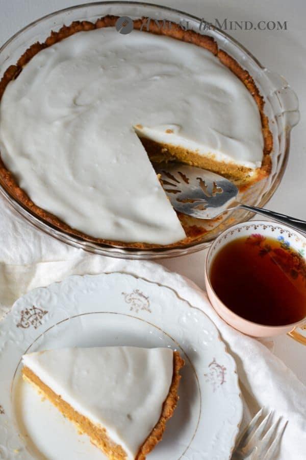 delicious haupia pumpkin pie in pyrex dish