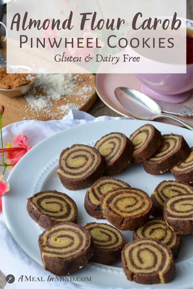 Almond Flour Carob Pinwheel Cookies on white plate side view