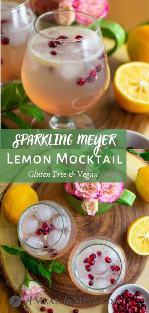 Sparkling Meyer Lemon Mocktail in glasses with pomegranate arils Pinterest collage