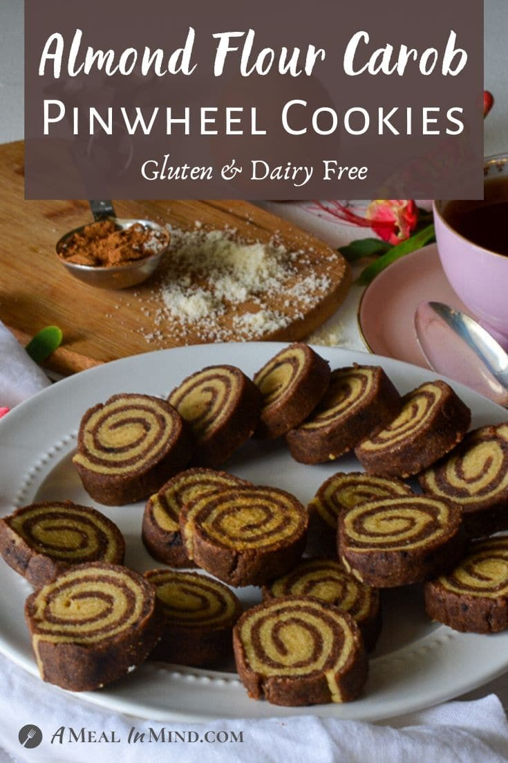 Almond Flour Carob Pinwheel Cookies pinterest image with brown panel