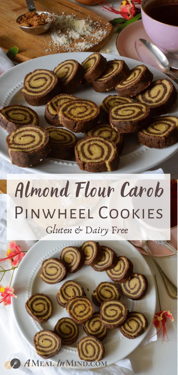 Almond Flour Carob Pinwheel Cookies with brown text pinterest collage