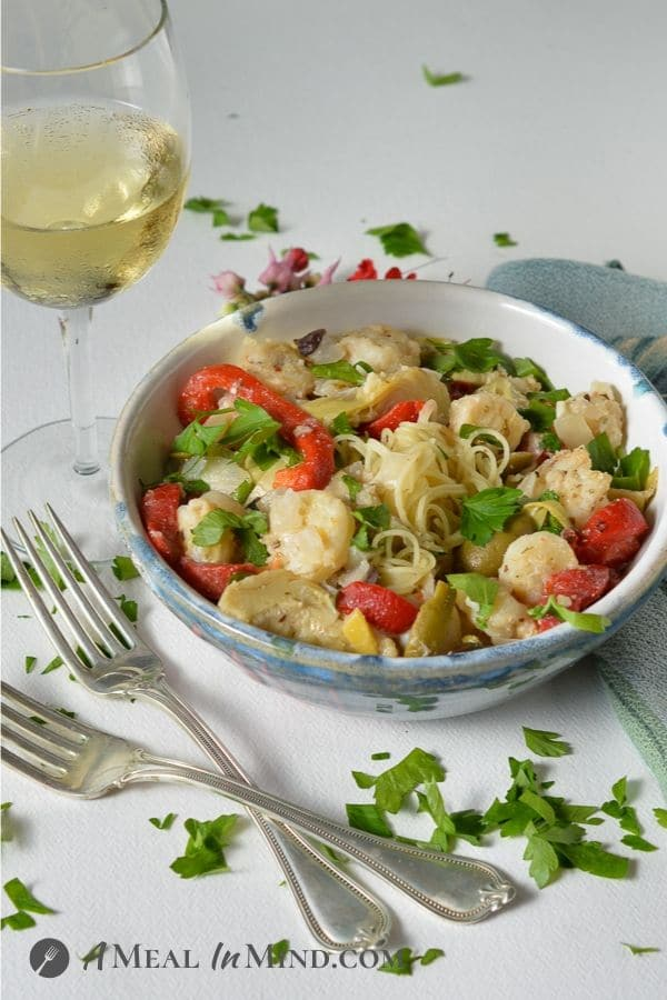 shrimp pasta with olives and artichokes