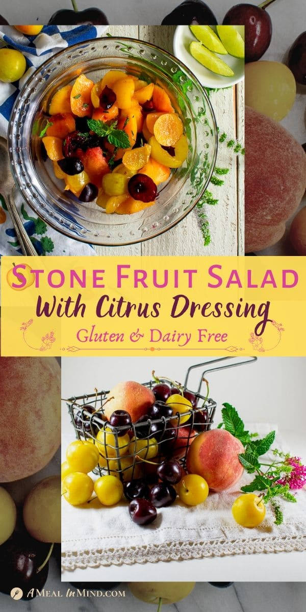 pinterest collage of stone fruit salad in glass bowl and raw fruit