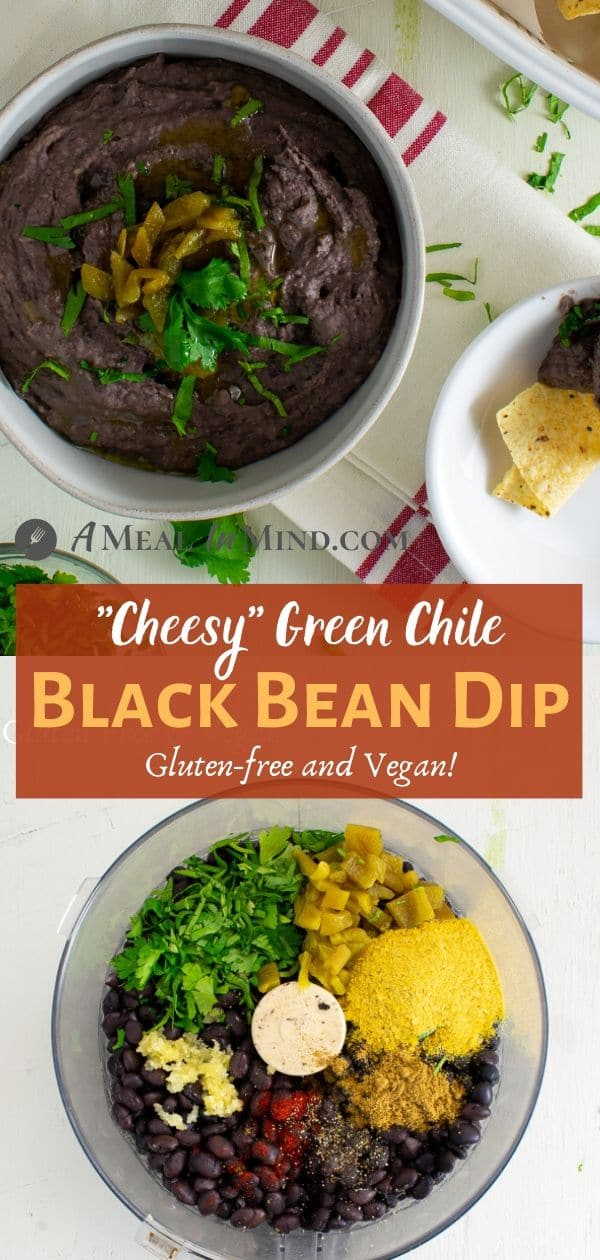 Cheesy green chile black bean dip in white bowls with ingredients in food processor