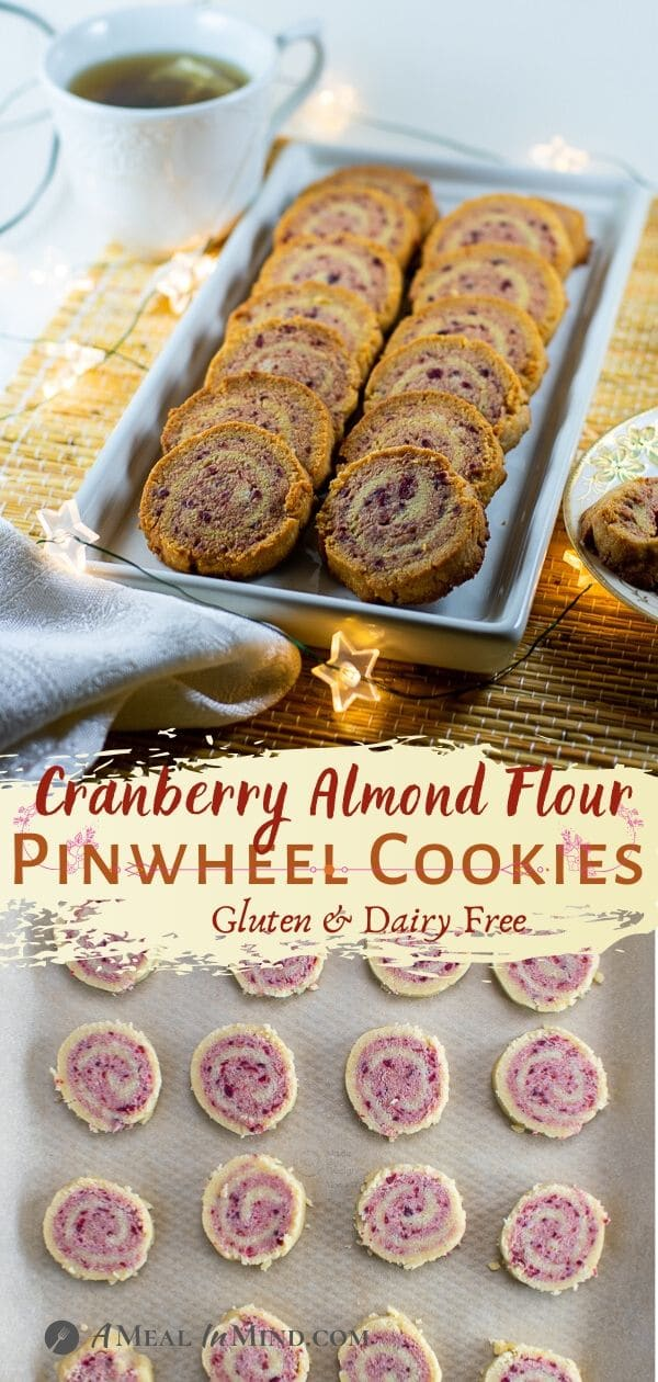 pinterest collage of cranberry almond-flour pinwheel cookies