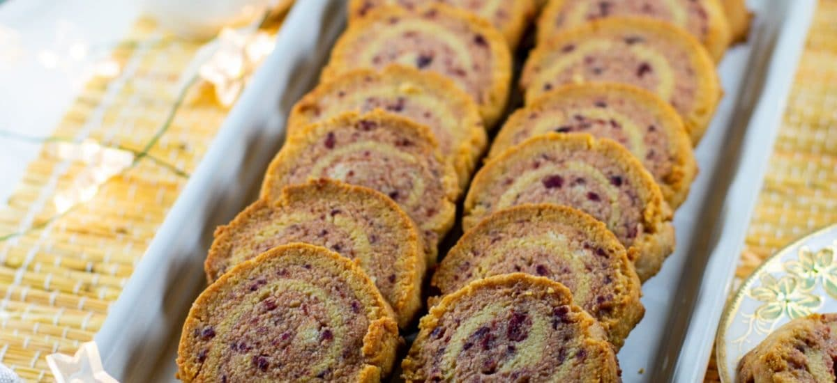 Cranberry Almond-Flour Pinwheel Cookies