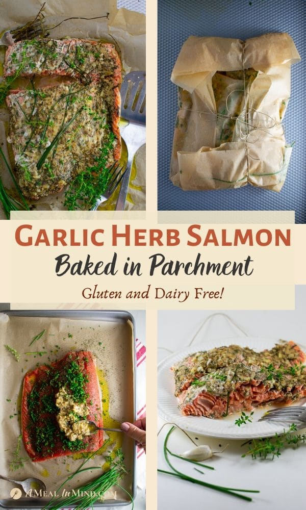 garlic herb salmon baked in parchment 4 image collage