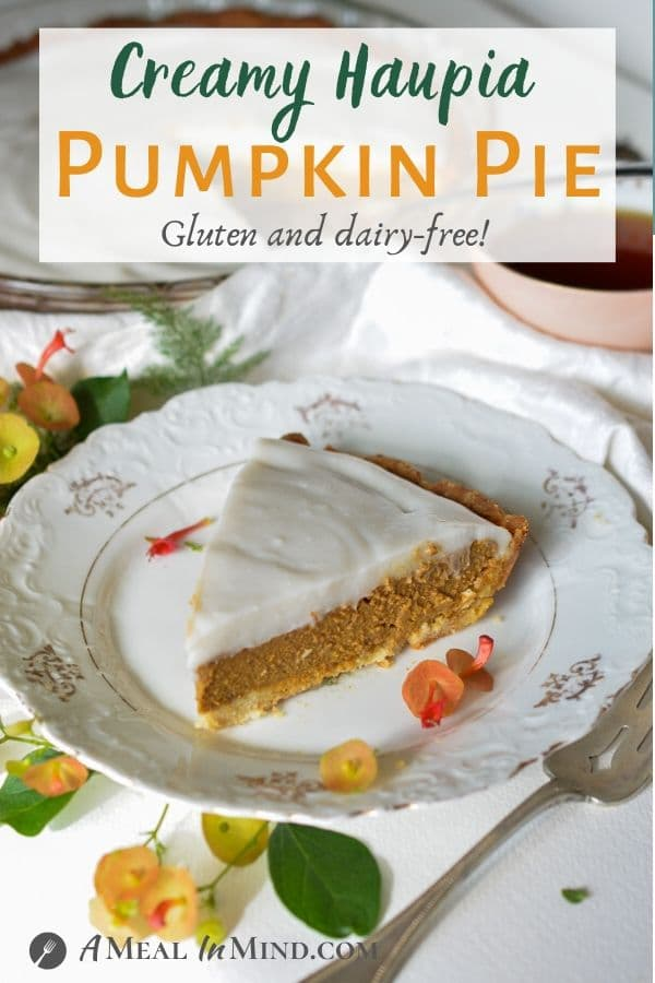 haupia pumpkin pie on patterned white plate