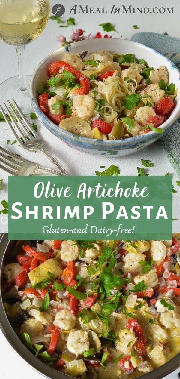 shrimp pasta with olives and artichokes pinterest collage