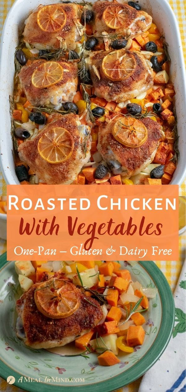 roasted chicken thighs in a bed of vegetables