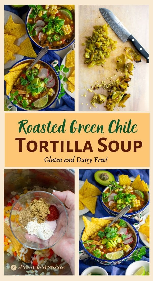 roasted green chile tortilla soup in blue bowls