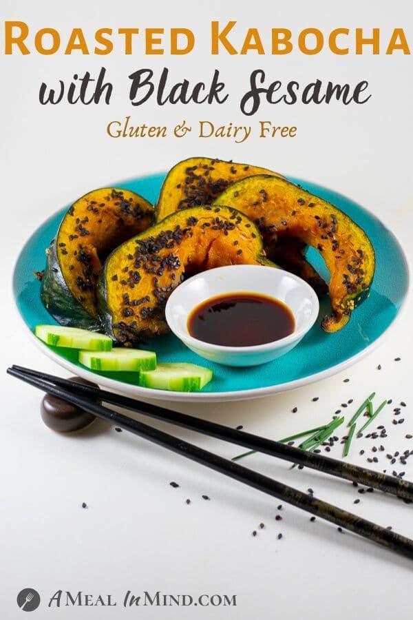 Roasted Kabocha with black sesame on a blue plate