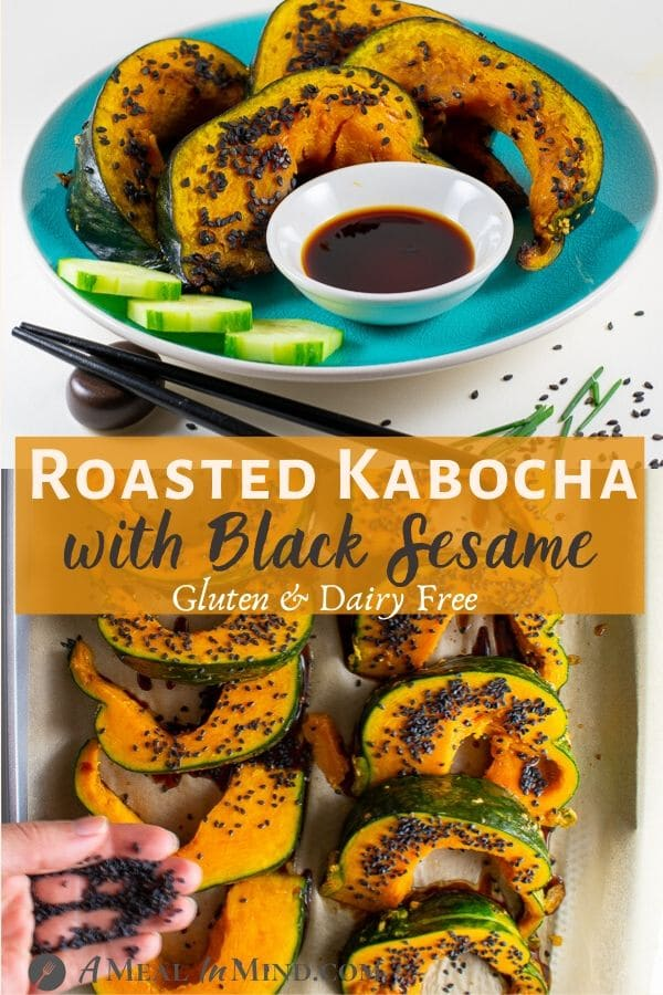 roasted kabocha with black sesame squash slices on blue plate