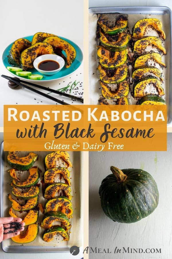 roasted kabocha with black sesame 4 part collage