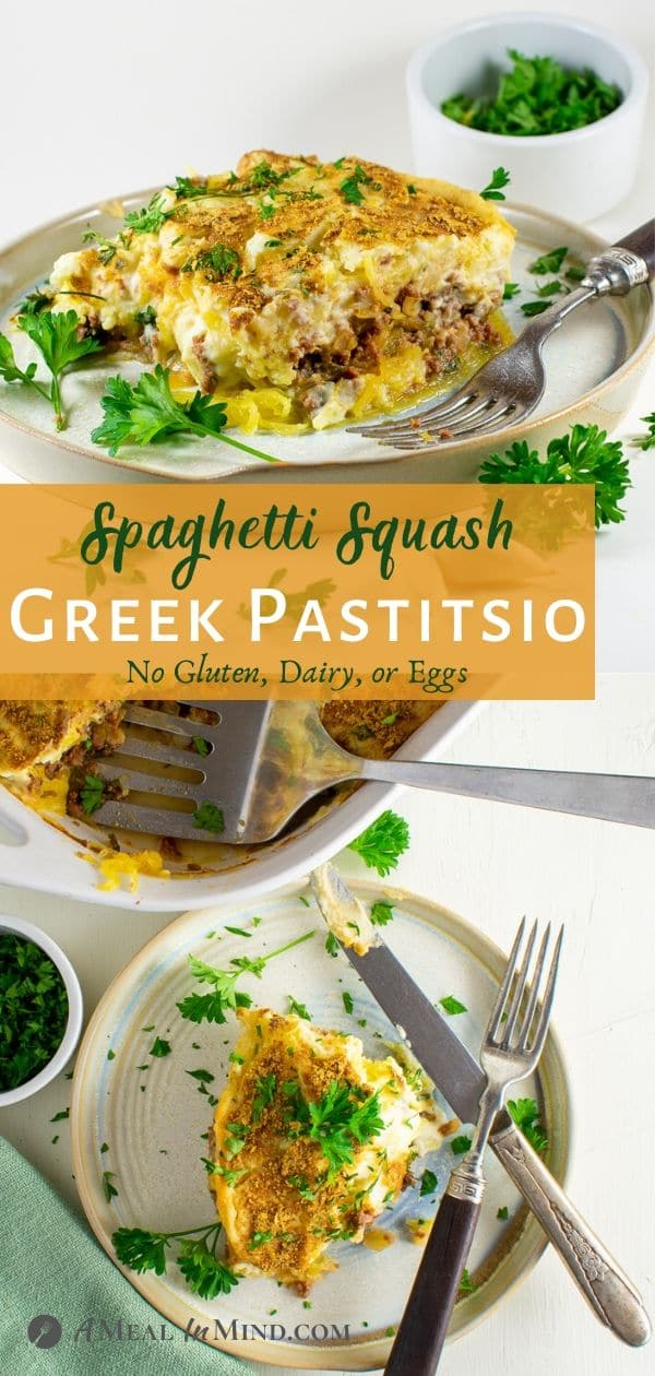 spaghetti squash greek pastitsio served on clay plate pinterest collage