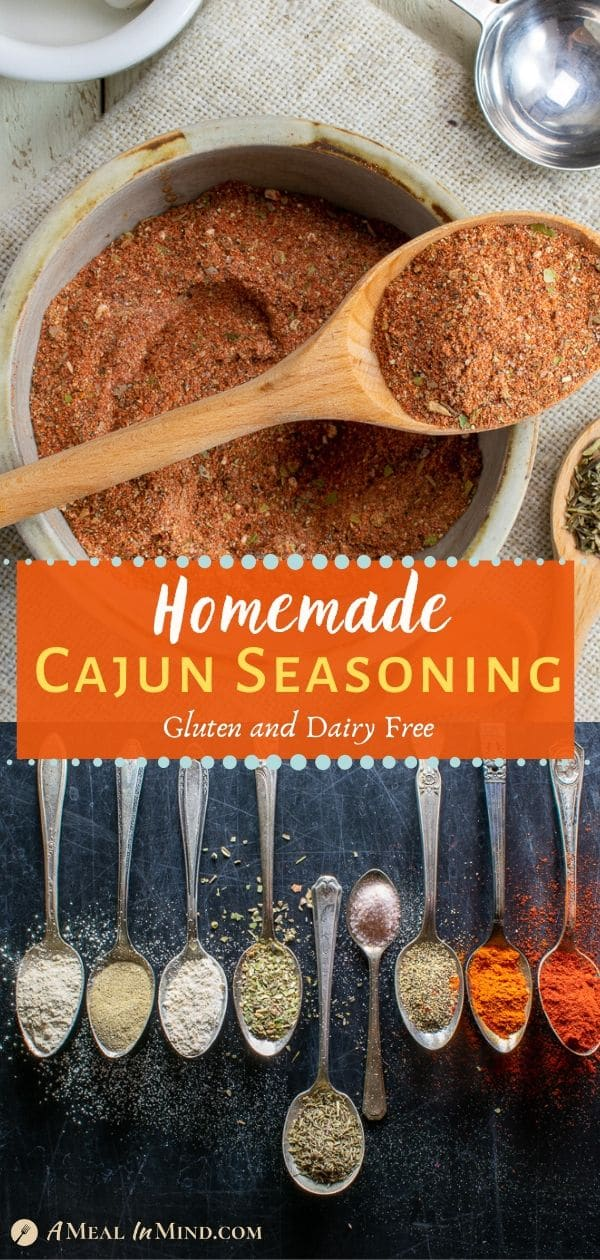 Homemade cajun seasoning pinterest collage with spices mixed and in spoons