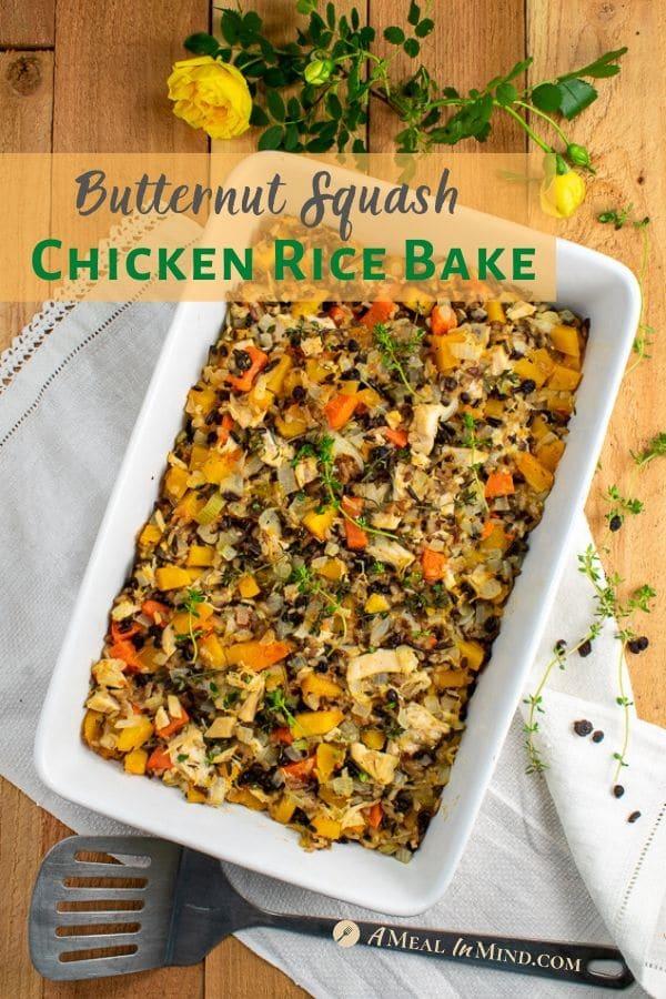 butternut squash chicken rice bake pinterest image