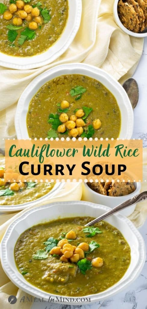 Cauliflower Wild Rice Curry Soup pinterest collage