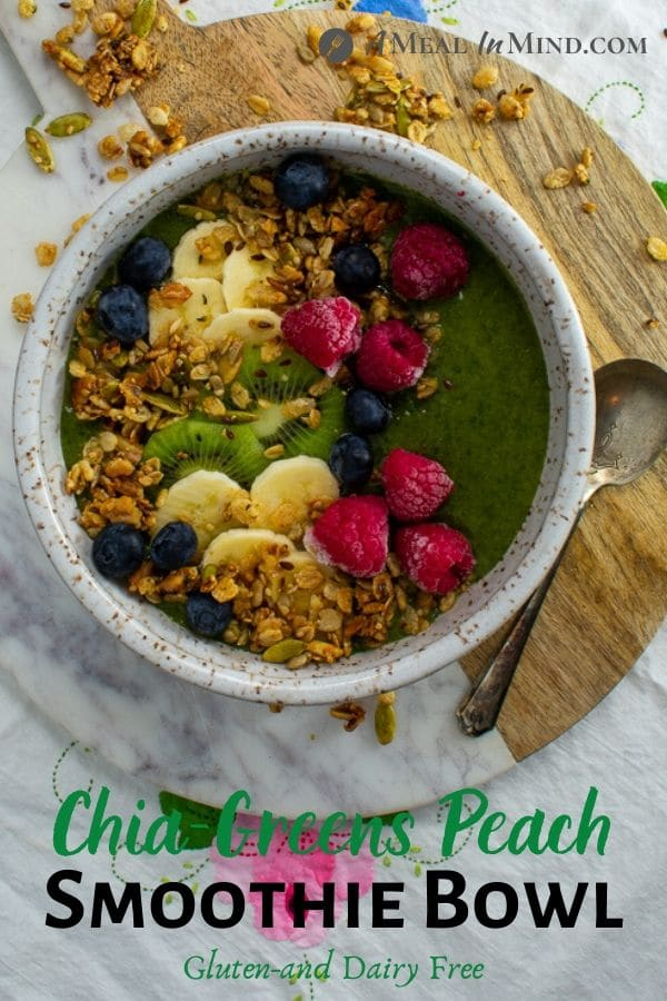 Chia-Greens Peach Smoothie Bowl with garnishes overhead view