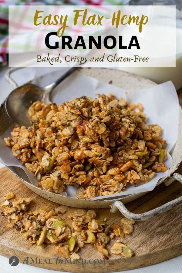 white pinterest image for Flax hemp granola with rice Crisps