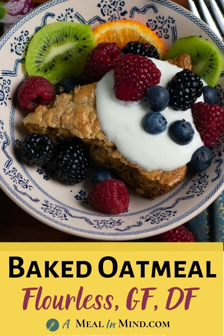 flourless baked oatmeal with fruit on patterned plate