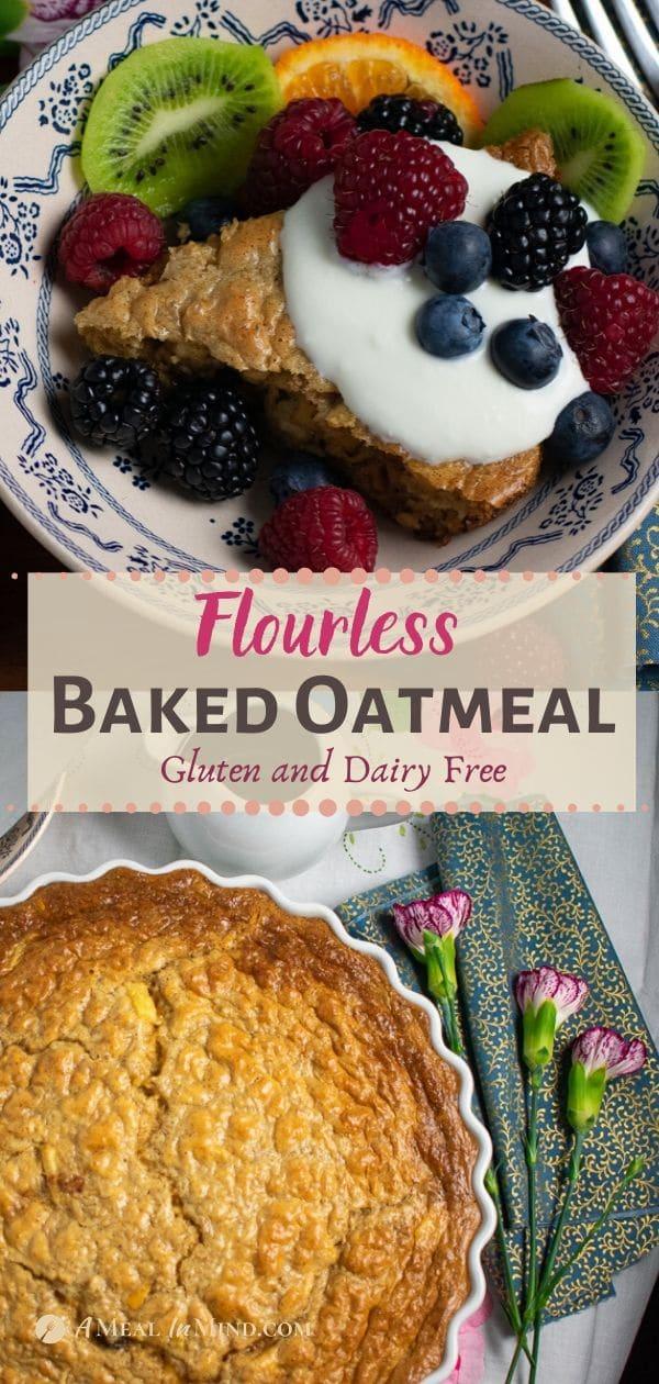 flourless baked oatmeal pinterest collage