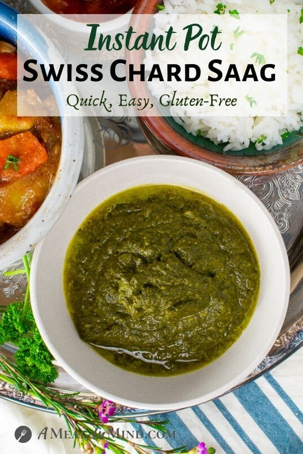 Instant Pot Swiss Chard Saag in white bowl on striped cloth