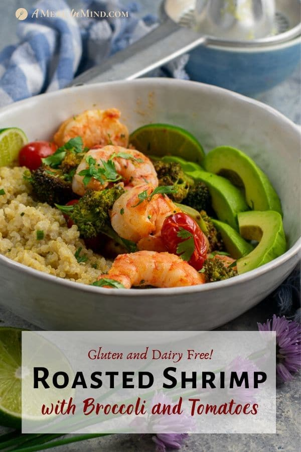Roasted Shrimp with Broccoli and Tomatoes in white bowl pin image