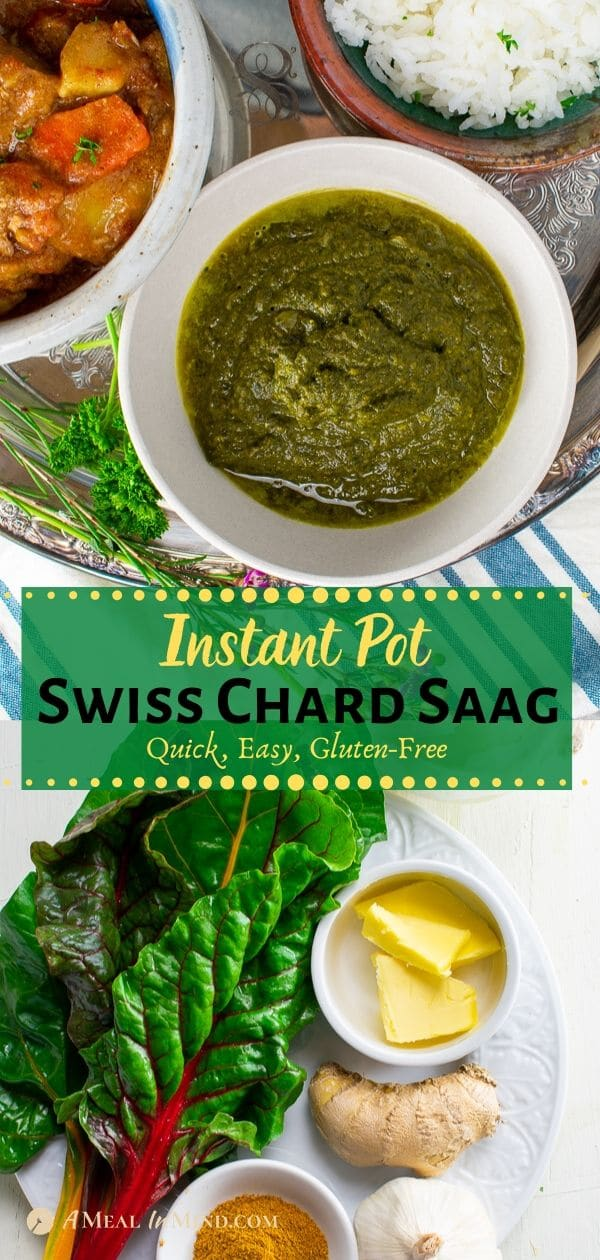 Instant Pot Swiss Chard Saag pinterest 2-part image