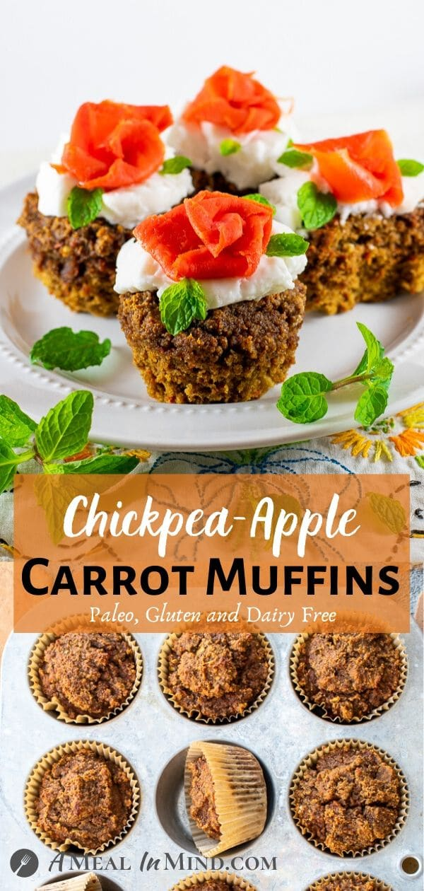 Chickpea-Apple Carrot Muffins pinterest collage