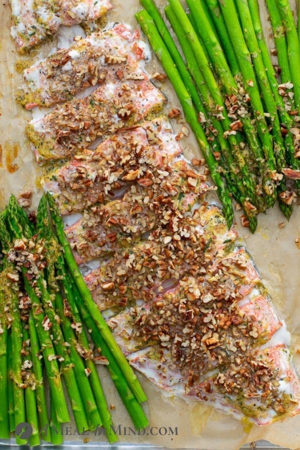 Garlic-Pecan-Salmon Pasta salmon at the end of baking on tray