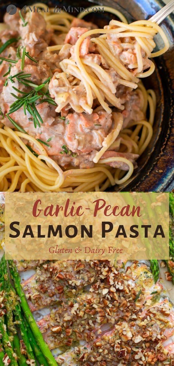 Garlic-Pecan-Salmon Pasta pinterest collage