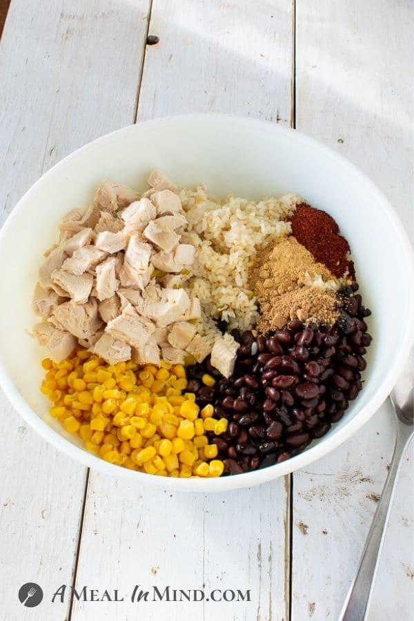 Green-Chile-Rice Chicken Casserole main ingredients