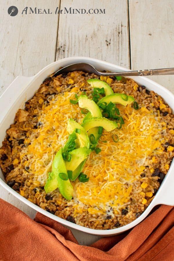 Green-Chile-Rice Chicken Casserole in baking dish