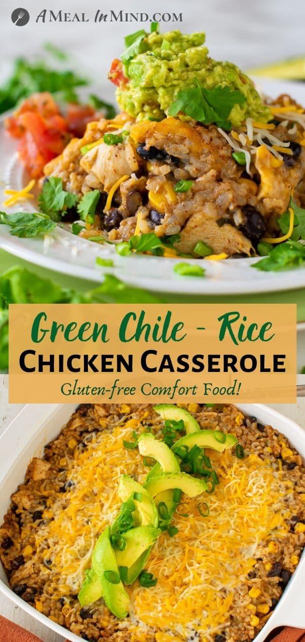 Green-Chile-Rice Chicken Casserole pinterest collage