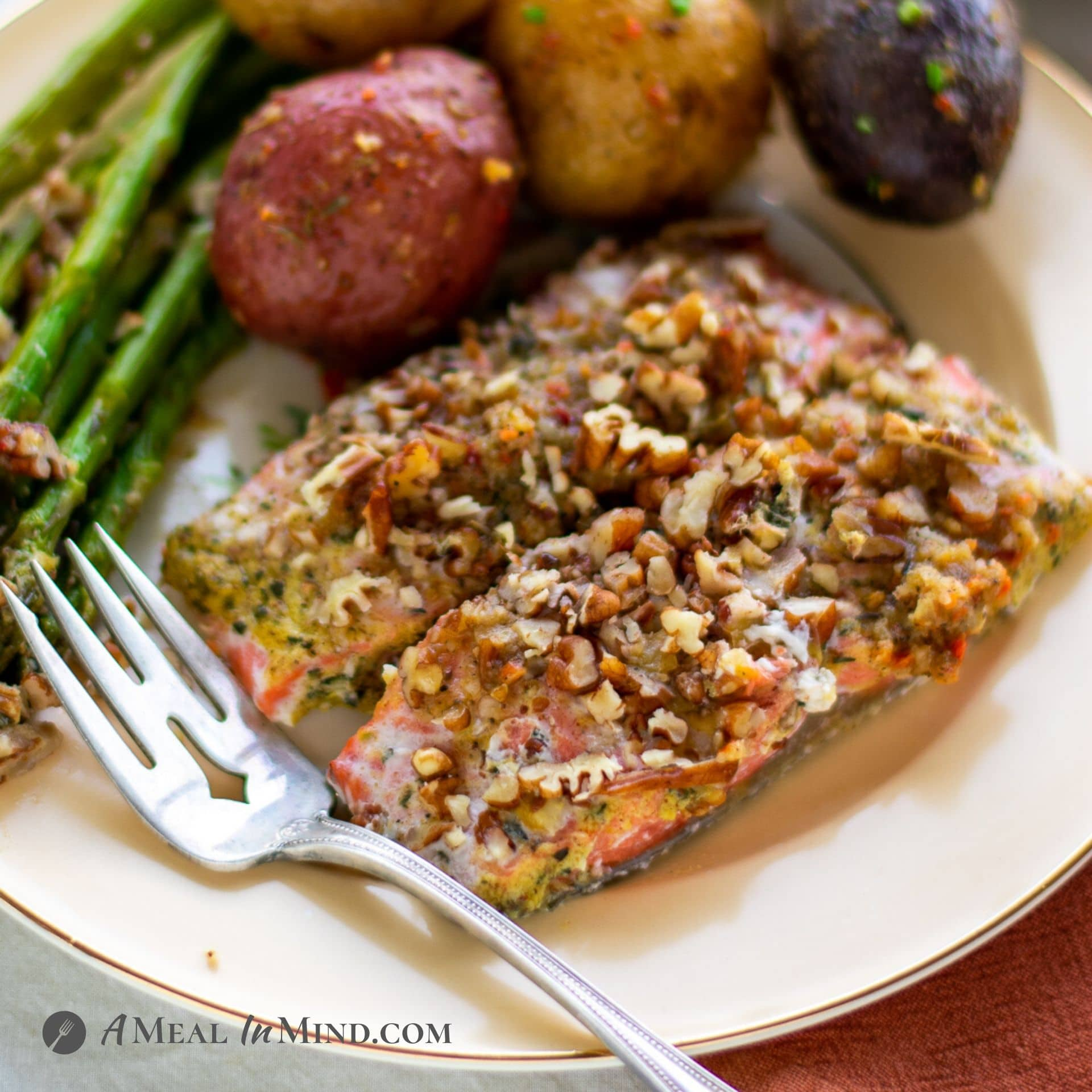 Pecan Mustard Salmon with Asparagus