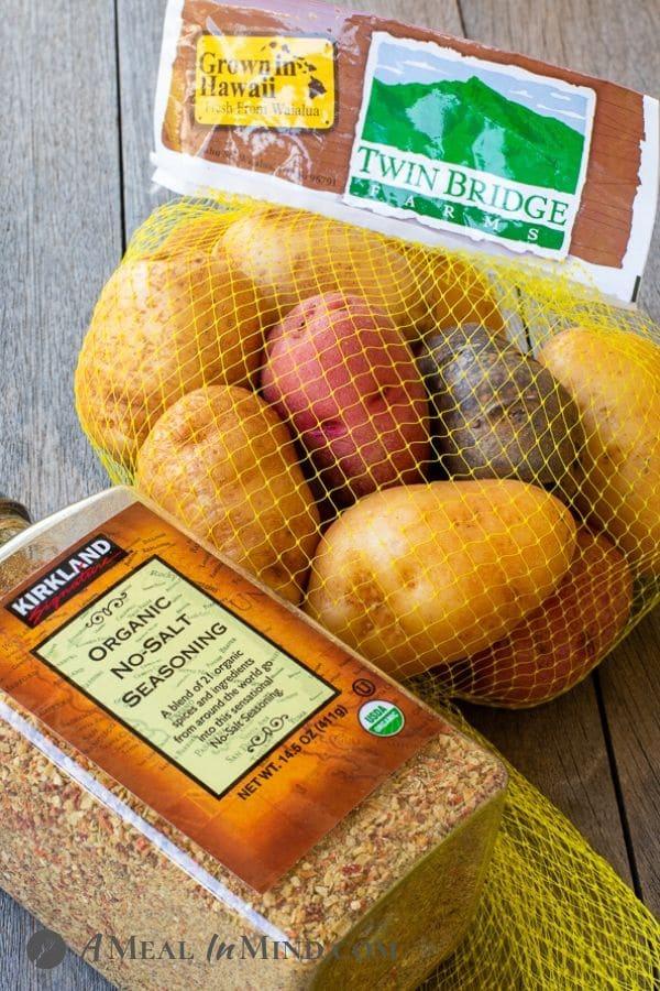 raw twin bridges potatoes and seasoning for Instant Pot Seasoned Salt Potatoes