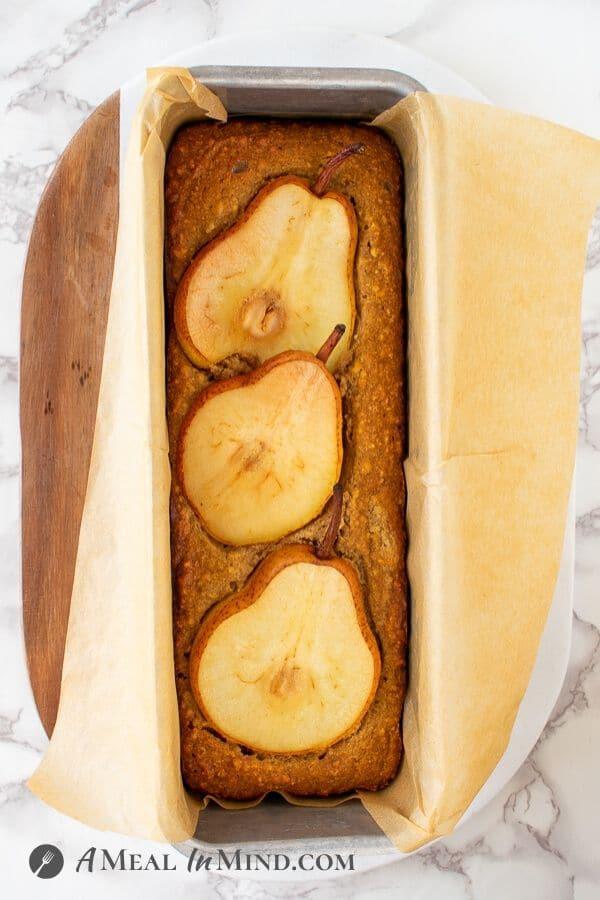 Walnut-Ginger Pear Bread in baking pan