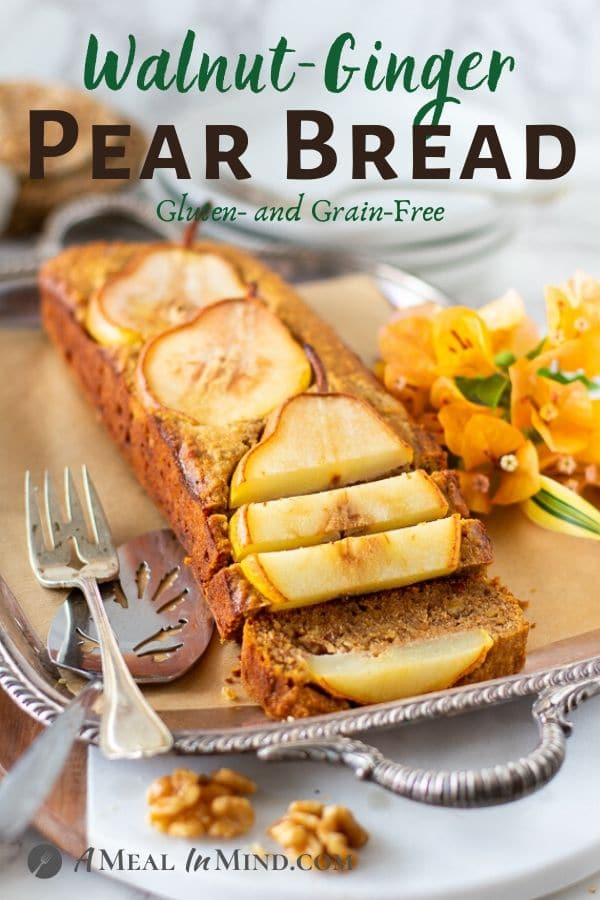 Walnut-Ginger Pear Bread pinterest image on silver tray