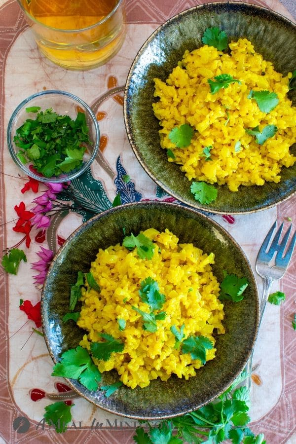 Coconut Turmeric Rice served in rice bowls