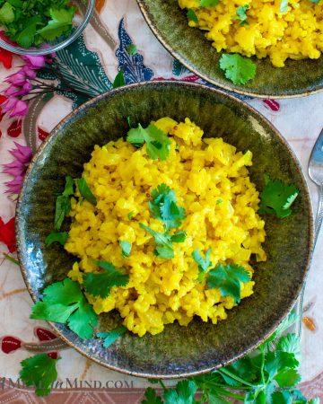 Coconut Turmeric Rice in ceramic bowl