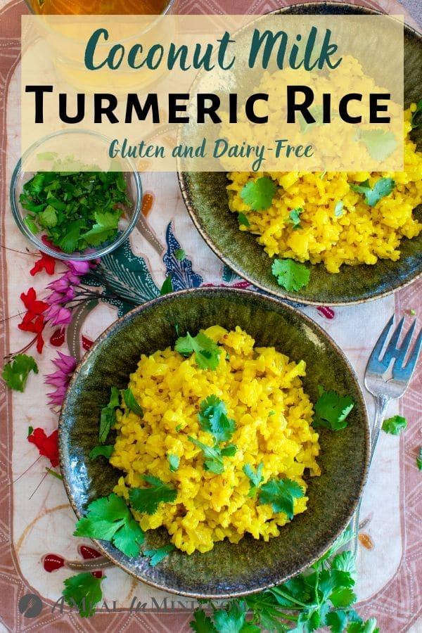 Coconut Turmeric Rice pinterest image tan