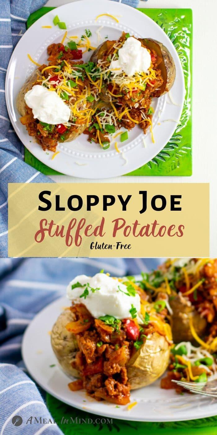 Sloppy Joe Stuffed Potatoes pinterest collage of stuffed potatoes on white plate