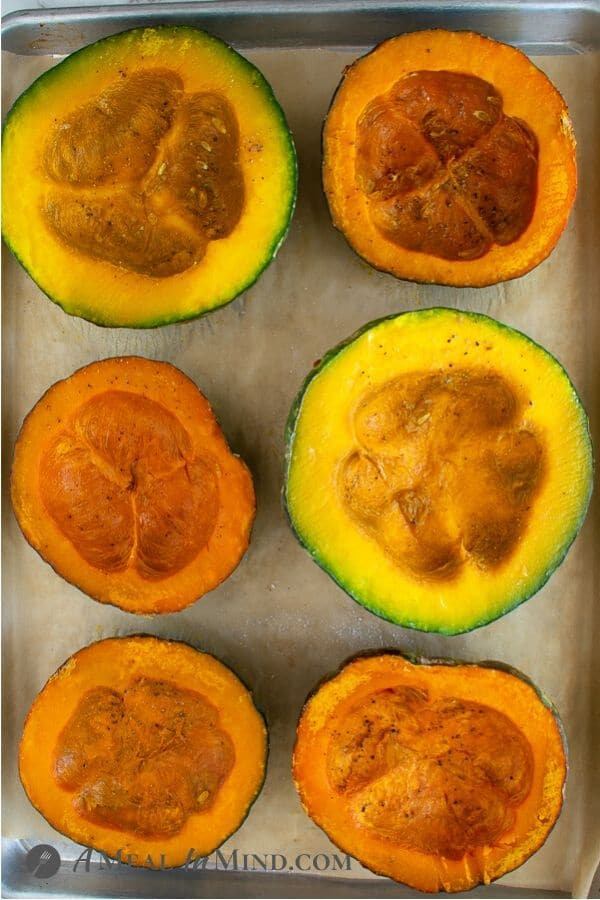 Kabocha Squash on baking tray ready to scoop out