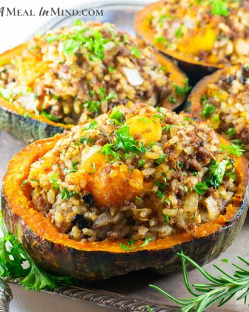 Ground Beef Stuffed Kabocha Squash on silver tray