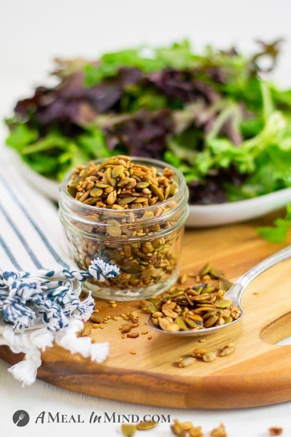 Three-Seed Salad Topper sprinkled onto broccoli