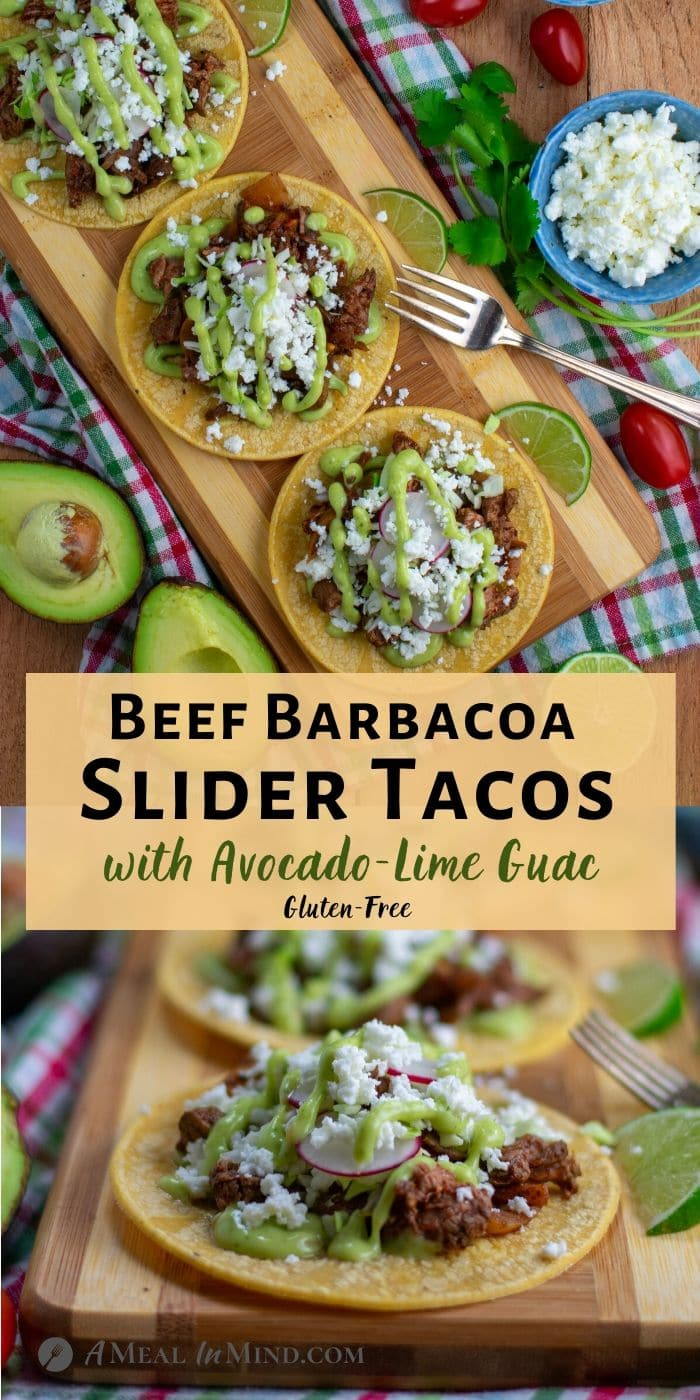 Beef Barbacoa Slider Tacos with Avocado Lime Guac on wooden board with toppings