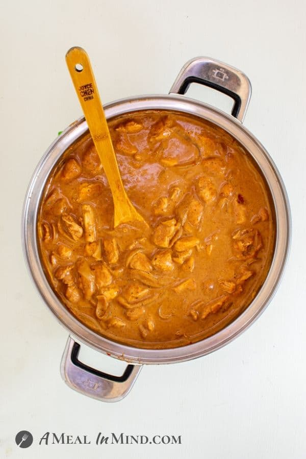 One-Pot Butter Chicken in large pot overhead view