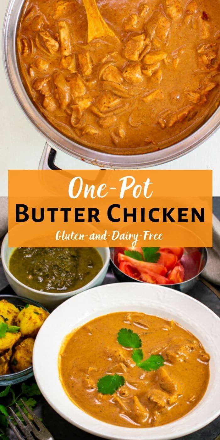 One-Pot Butter Chicken tall pinterest collage